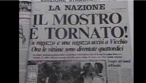 Headline of Florence newspaper in 1984 about Mostro striking again