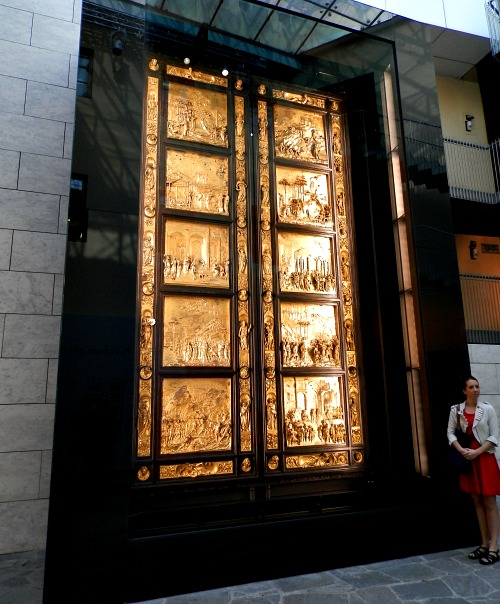Ghiberti's 'Gates of Paradise' have recently returned on display after a 27 year cleaning process - here you get a good idea of the size of these bronze sculptures
