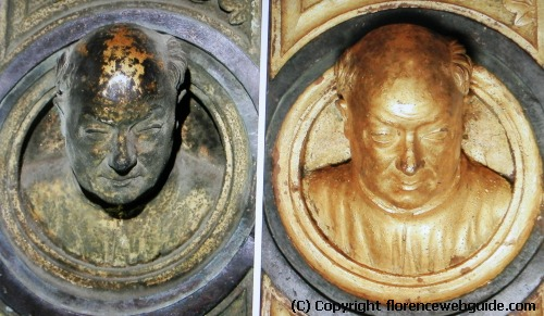 Detail of Ghiberti's doors, before and after cleaning - this small bust is a self-portrait of the artist