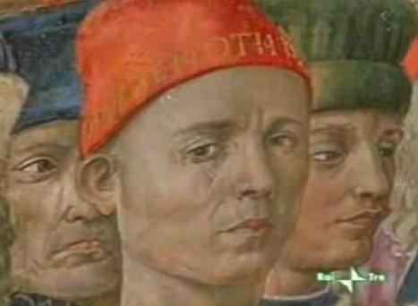 Artist Benozzo Gozzoli made a self-portrait of himself in the Cappella dei Magi frescoes