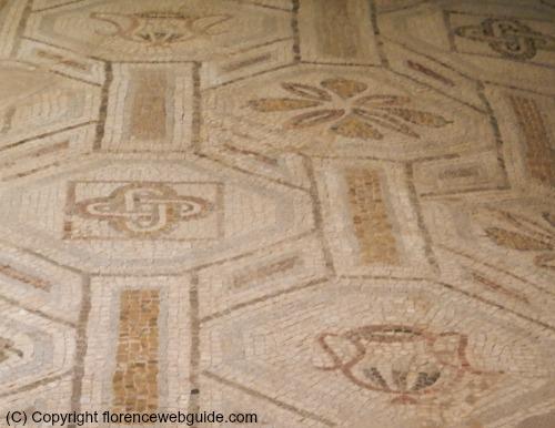 Close up of mosaic floor designs