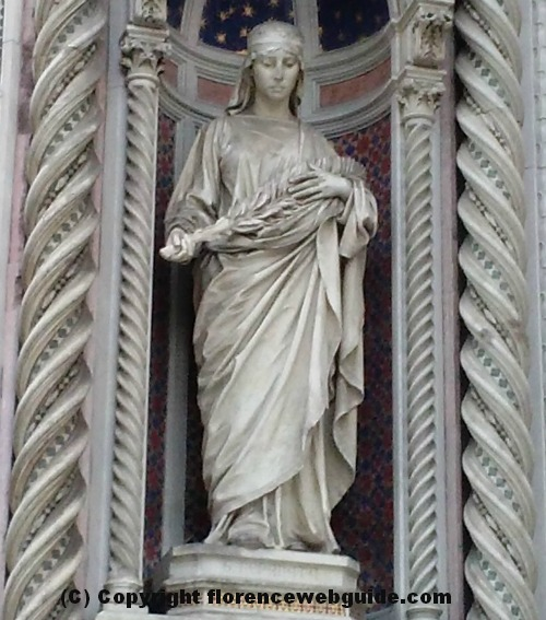 Statue of Santa Reparata on the facade of the Duomo of Florence