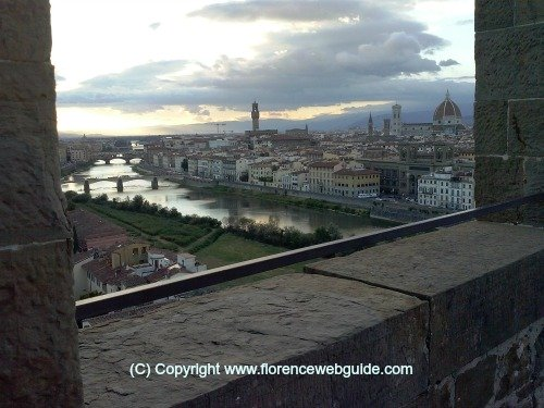 Florence skyline at dusk from San Niccolo tower gate